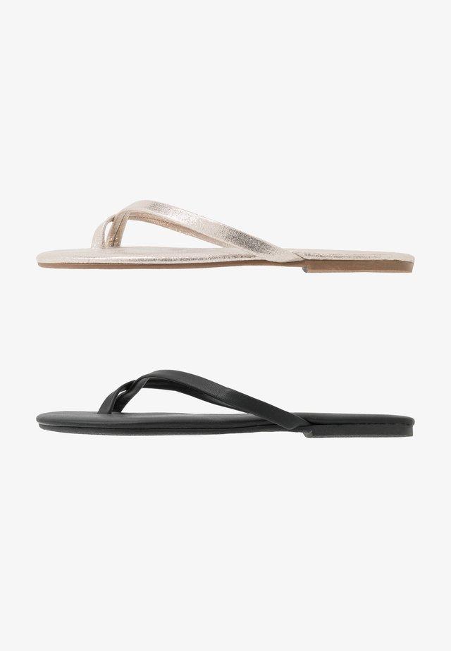 FLIP 2 PACK - T-bar sandals - black/gold