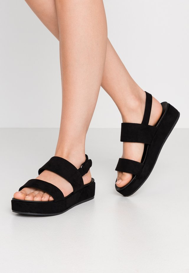 FORSALI SLINGBACK FLATFORM - Korkeakorkoiset sandaalit - black