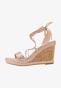 Dorothy Perkins - ROBYN ANKLE TIE GHILLIE WEDGE - High heeled sandals - rose gold - 1