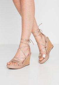 Dorothy Perkins - ROBYN ANKLE TIE GHILLIE WEDGE - High heeled sandals - rose gold - 0