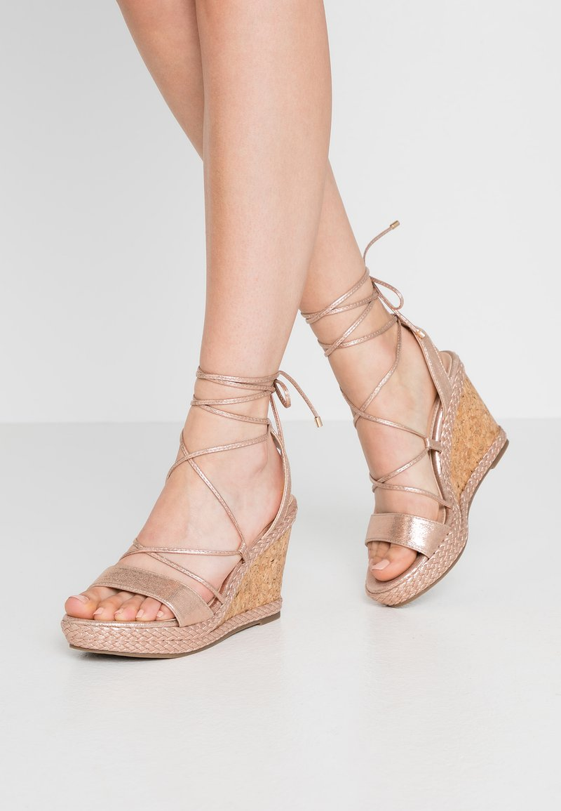 Dorothy Perkins - ROBYN ANKLE TIE GHILLIE WEDGE - High heeled sandals - rose gold
