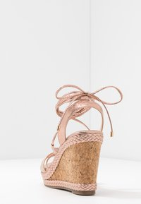 Dorothy Perkins - ROBYN ANKLE TIE GHILLIE WEDGE - High heeled sandals - rose gold - 5