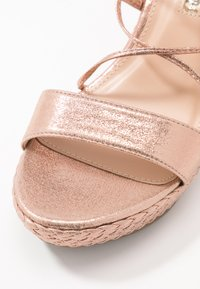 Dorothy Perkins - ROBYN ANKLE TIE GHILLIE WEDGE - High heeled sandals - rose gold - 2