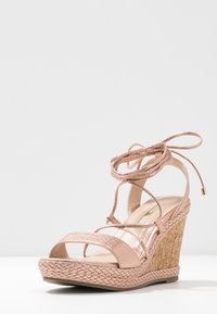 Dorothy Perkins - ROBYN ANKLE TIE GHILLIE WEDGE - High heeled sandals - rose gold - 4