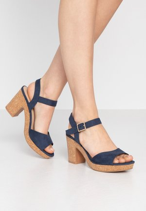 RHONDA NOTCH WEDGE  - Sandalen met hoge hak - navy