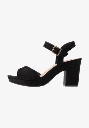 RHONDA NOTCH WEDGE  - High heeled sandals - black