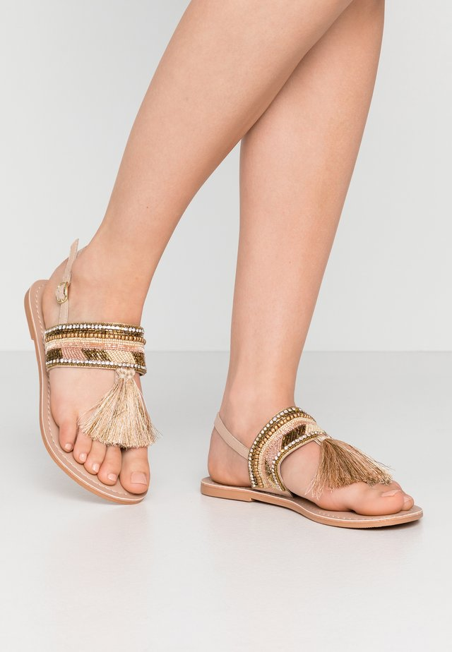 SANTARINA FRINGE BEADED TOE POST - Tongs - nude