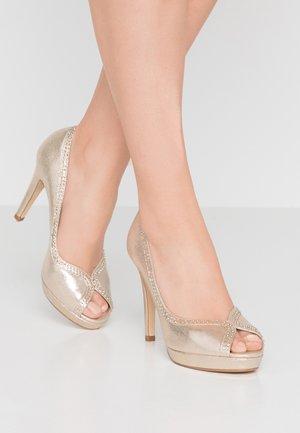 GHOSTLY PLATFORM COURT SHOE - Peeptoe heels - gold