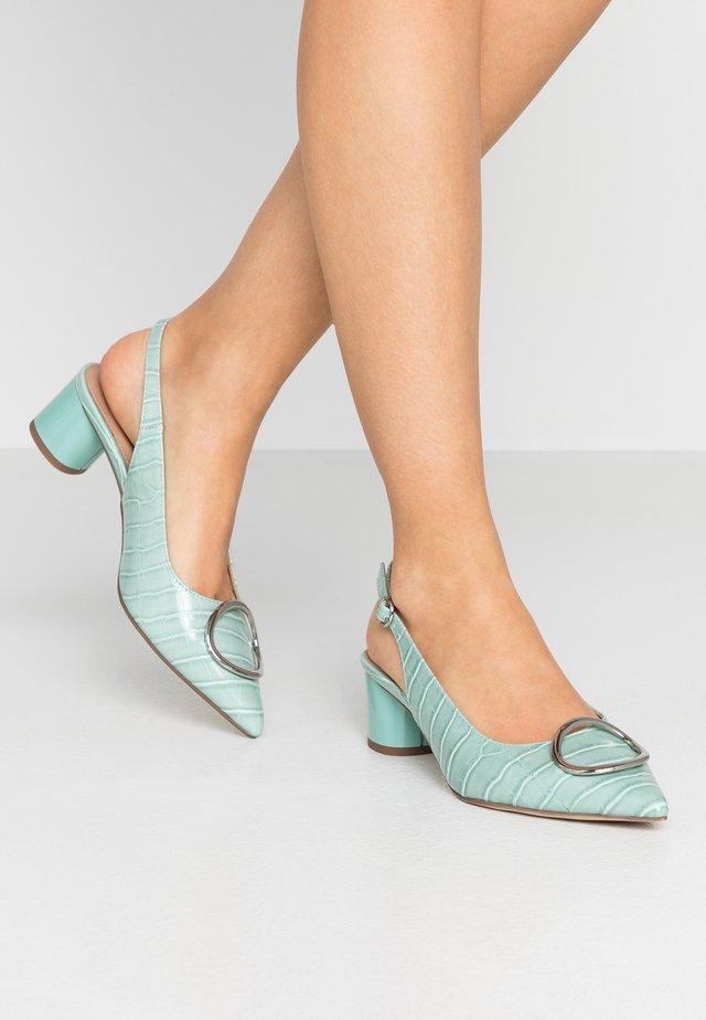 EMMA CROC SLING POINT - Classic heels - green