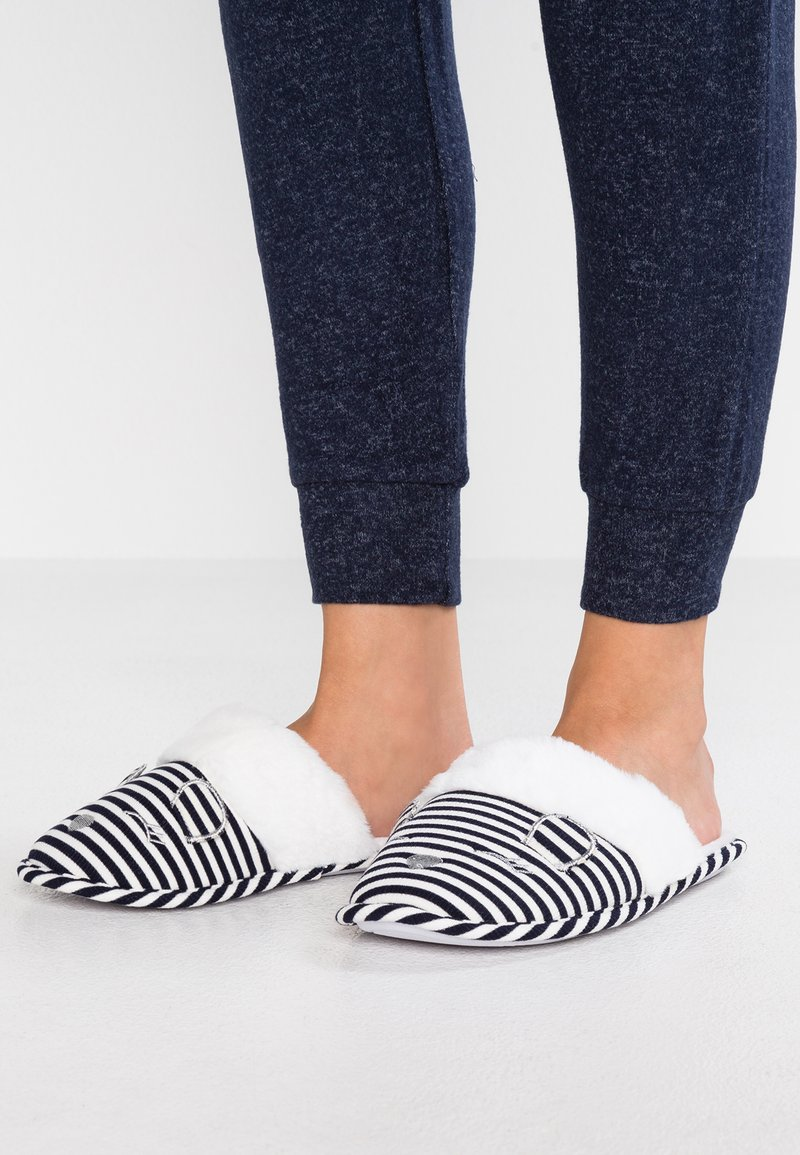Dorothy Perkins - STRIPE NOVELTY MULE - Hausschuh - navy/white