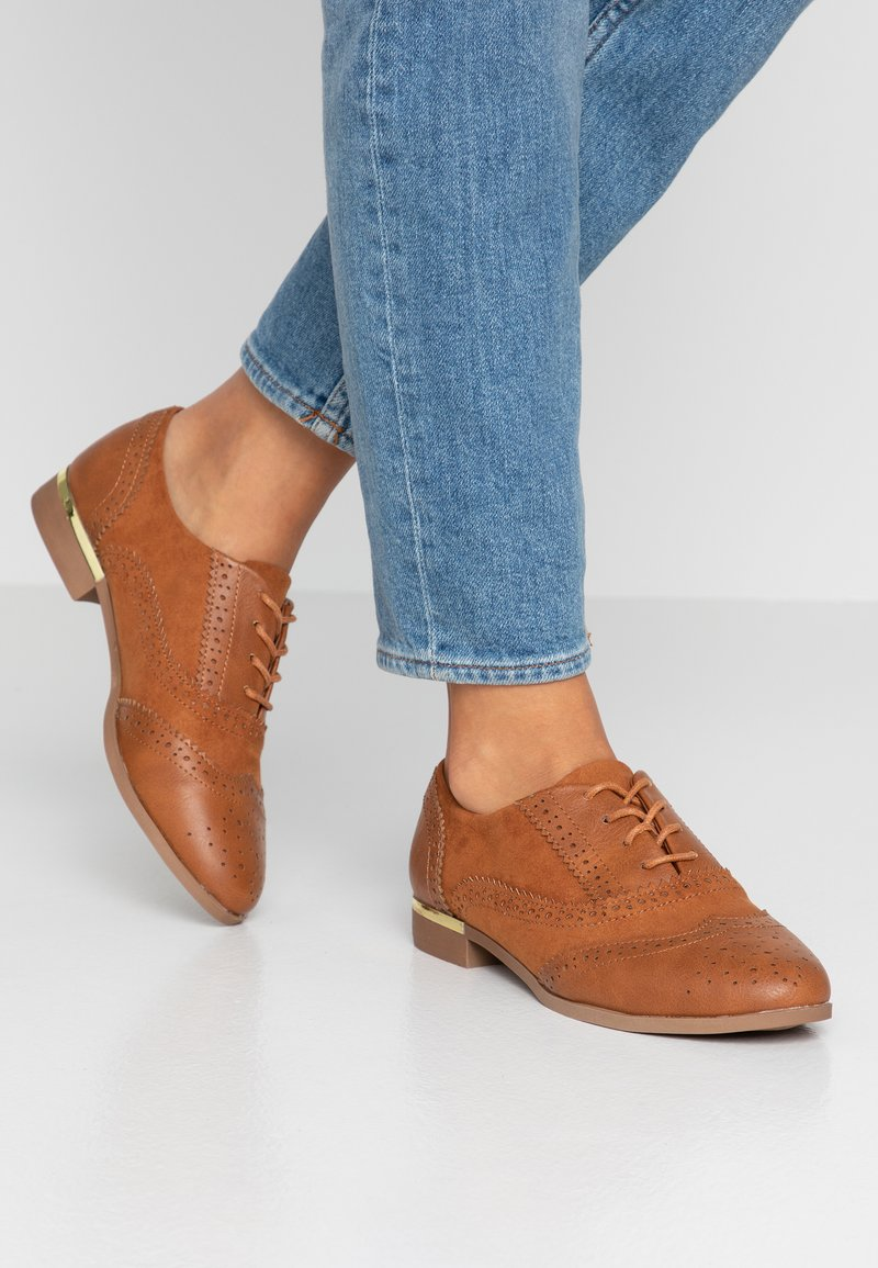 Dorothy Perkins - LOELLA LACE UP BROGUE - Schnürer - tan