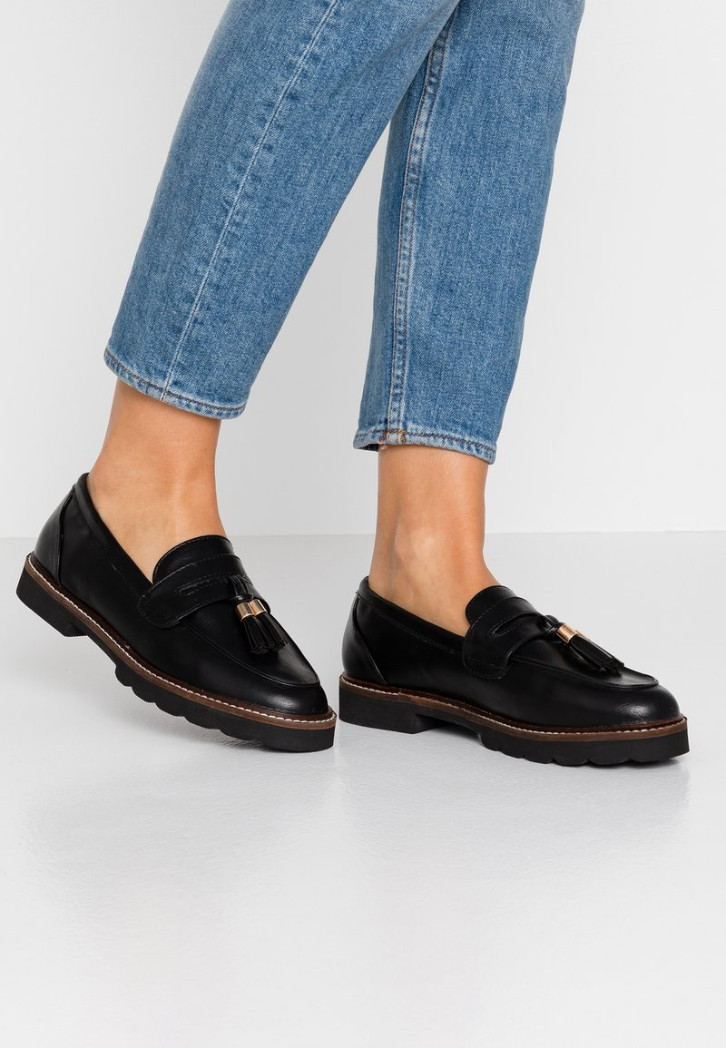 Dorothy Perkins - LEIGH CHUNKY OUTSOLE LOAFER - Slippers - black