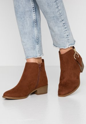 MYNOR SIDE ZIP RING PULL - Ankle boots - dark tan