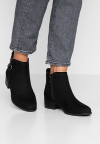 Dorothy Perkins - MYNOR SIDE ZIP RING PULL - Ankle boots - black - 0