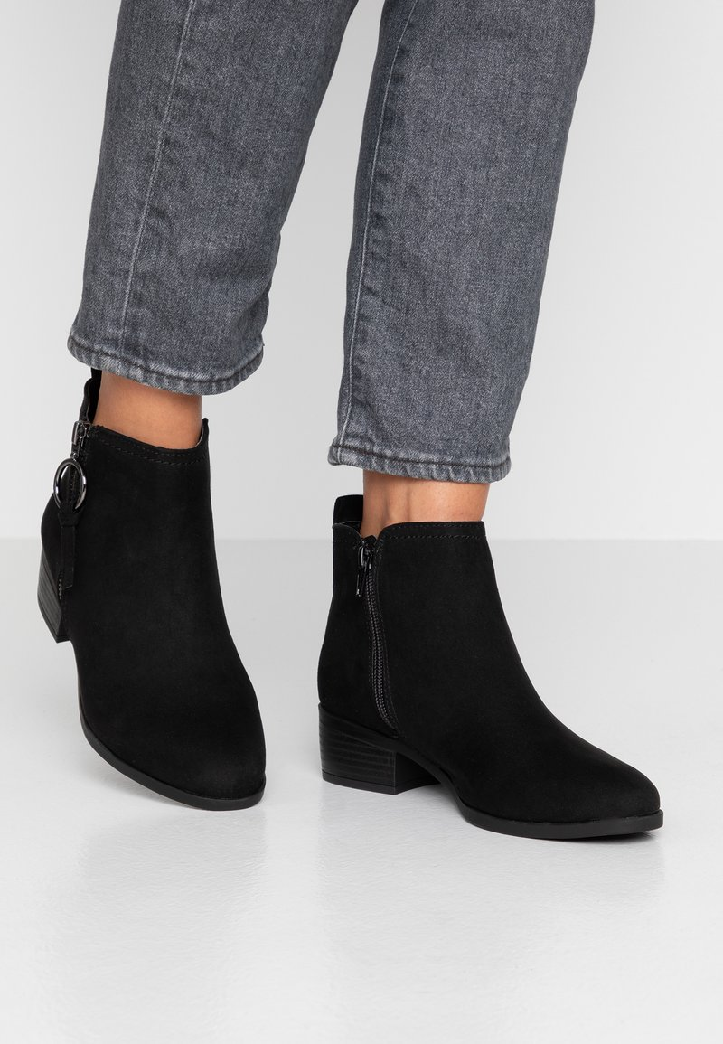 Dorothy Perkins - MYNOR SIDE ZIP RING PULL - Ankle boots - black
