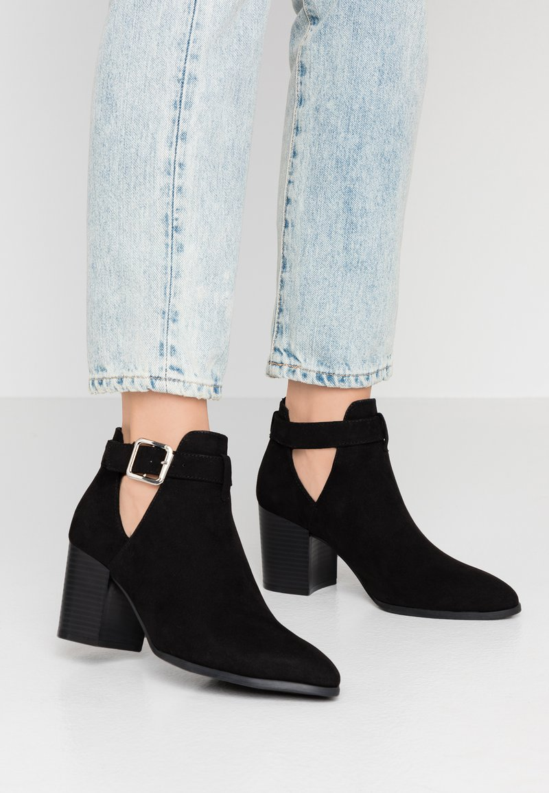 Dorothy Perkins - ABSIN OPEN SIDED HEELED - Korte laarzen - black