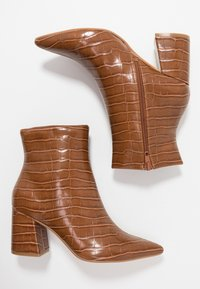 Dorothy Perkins - ANICA CROC POINTED BLOCK - Classic ankle boots - tan - 3