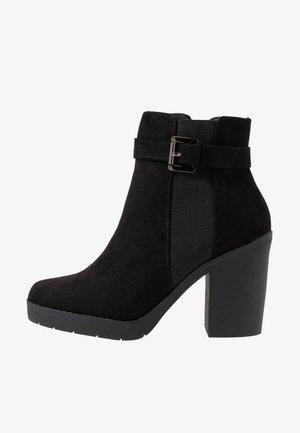 AGGY CHUNKY BUCKLE  - High heeled ankle boots - black