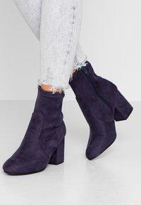 Dorothy Perkins - AVERY MF SOCK BLOCK HEEL  - Classic ankle boots - navy - 0