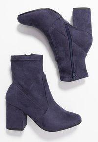 Dorothy Perkins - AVERY MF SOCK BLOCK HEEL  - Classic ankle boots - navy - 3