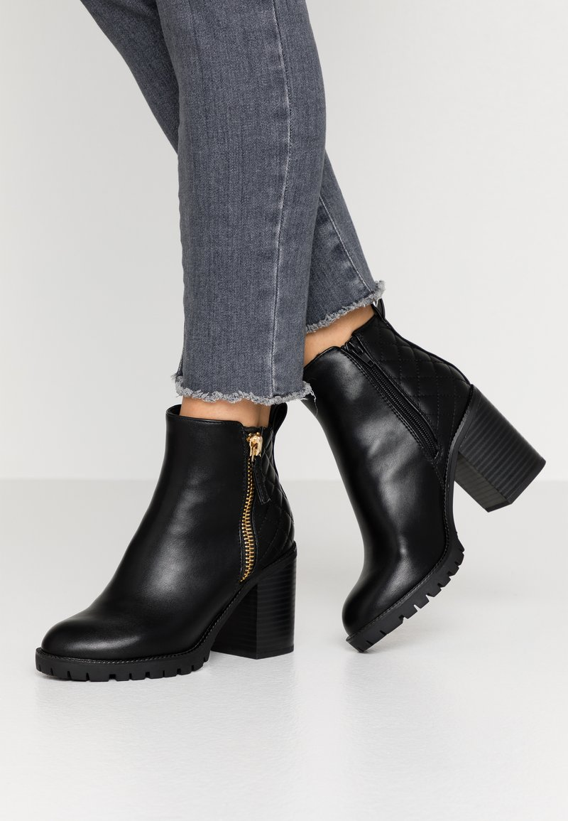 Dorothy Perkins - ASHLEIGH CHUNKY QUILTED SIDE ZIP - Ankelboots - black