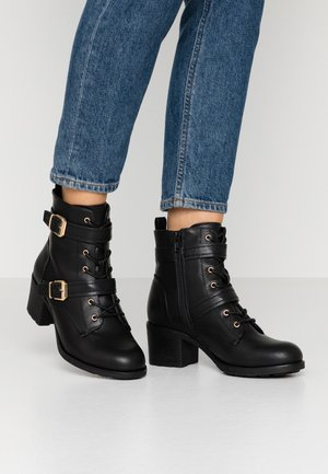 MARIE LACE UP HEELED BOOT - Schnürstiefelette - black