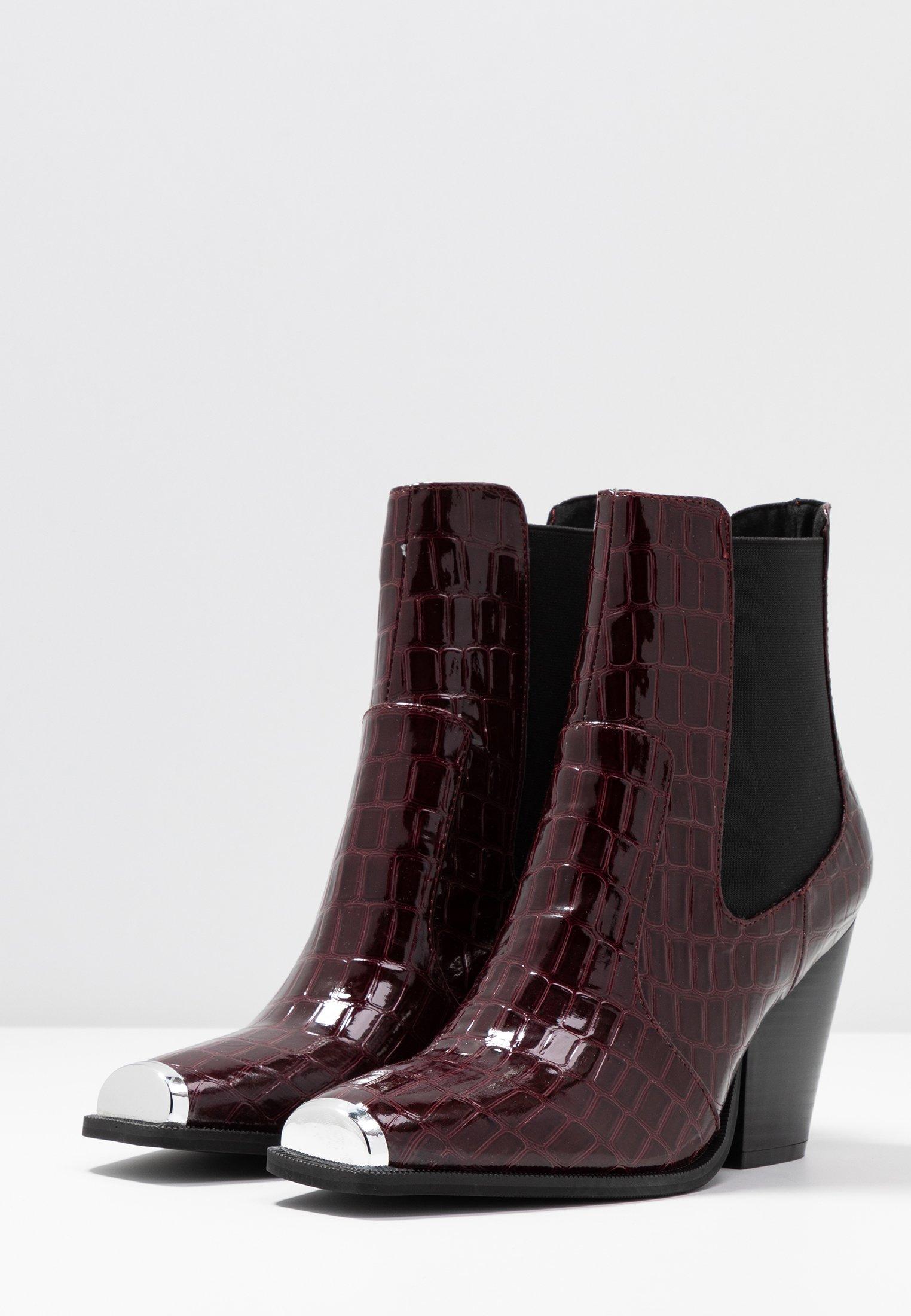 Dorothy Perkins LOLA SKYE LUCA SQUARE TOE WESTERN - Ankelboots med høye hæler - burgundy