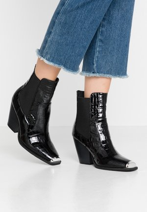 LOLA SKYE LUCA SQUARE TOE WESTERN - High heeled ankle boots - black