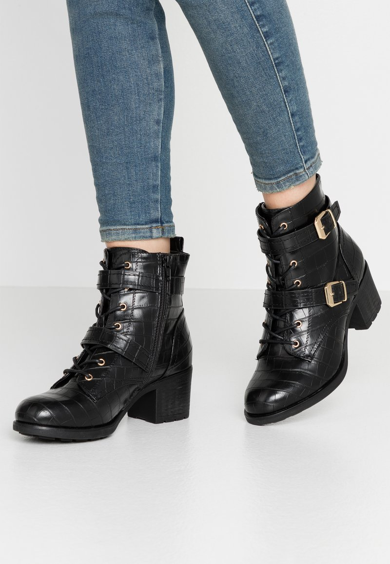 Dorothy Perkins - MARIE LACE UP HEELED  - Santiags - black