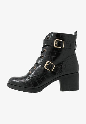 MARIE LACE UP HEELED  - Cowboy/biker ankle boot - black