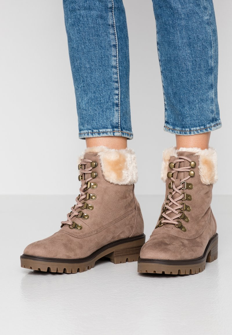 Dorothy Perkins - MILLIE COLLAR LACE UP HIKER - Schnürstiefelette - taupe