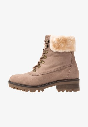 MILLIE COLLAR LACE UP HIKER - Veterboots - taupe