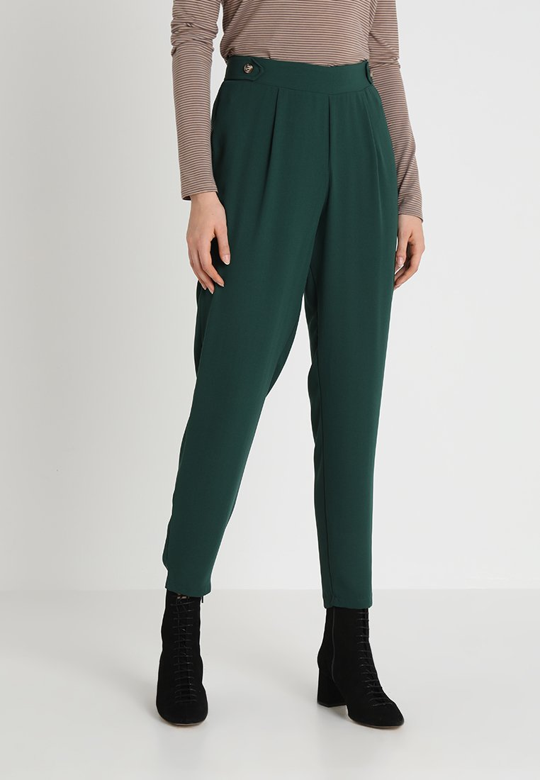 Dorothy Perkins - BUTTON TROUSER - Trousers - forest green