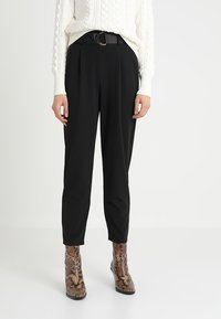 Dorothy Perkins - DRING TAPERED TROUSER - Broek - black - 0
