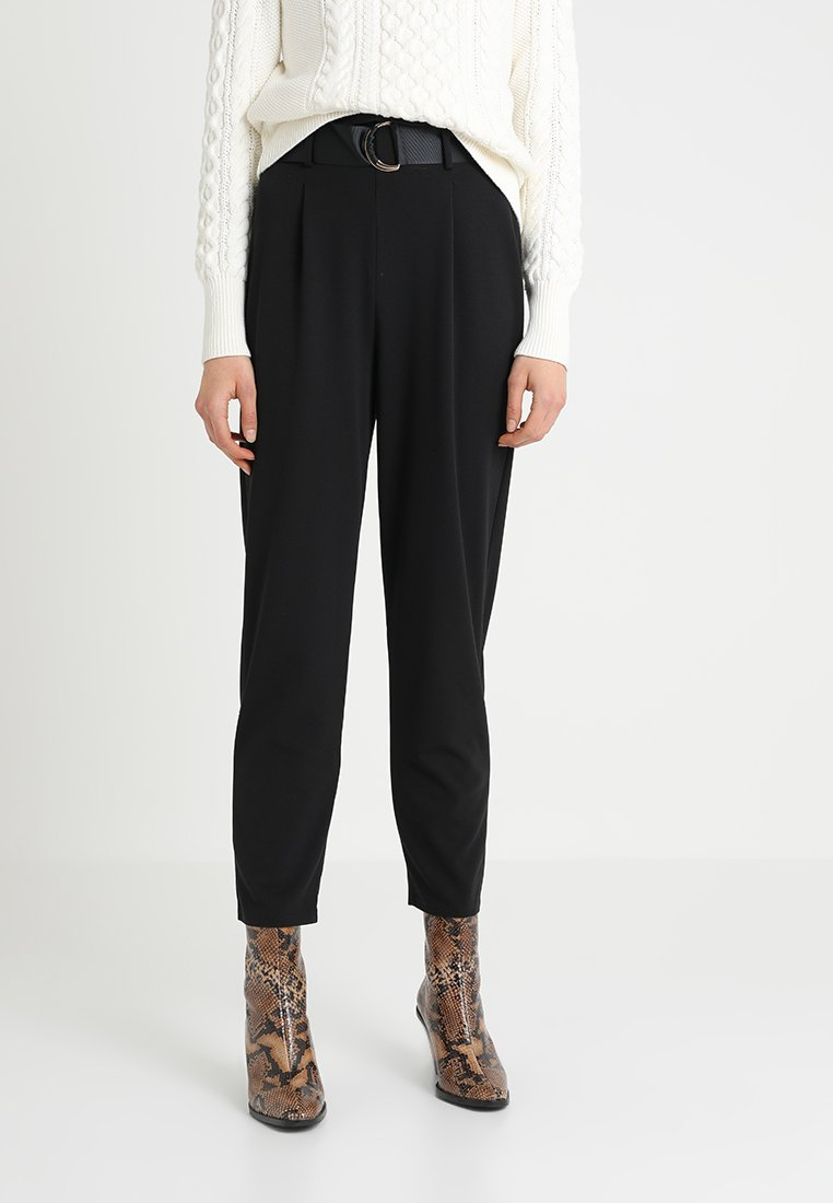 Dorothy Perkins - DRING TAPERED TROUSER - Broek - black