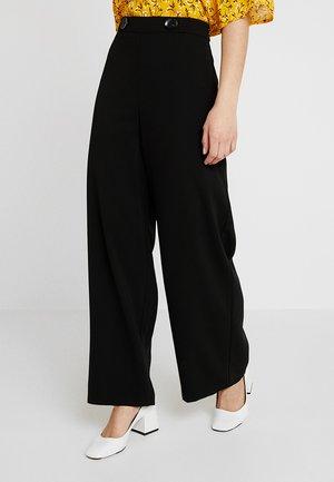 CREPE WIDE LEG - Spodnie materiałowe - black