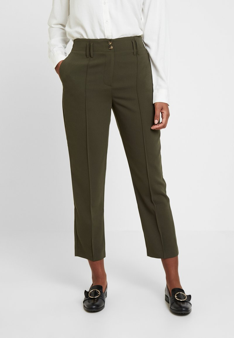 Dorothy Perkins - BELTED CHECK - Trousers - green