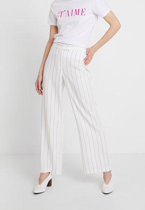 PINSTRIPE WIDELEG - Trousers - white