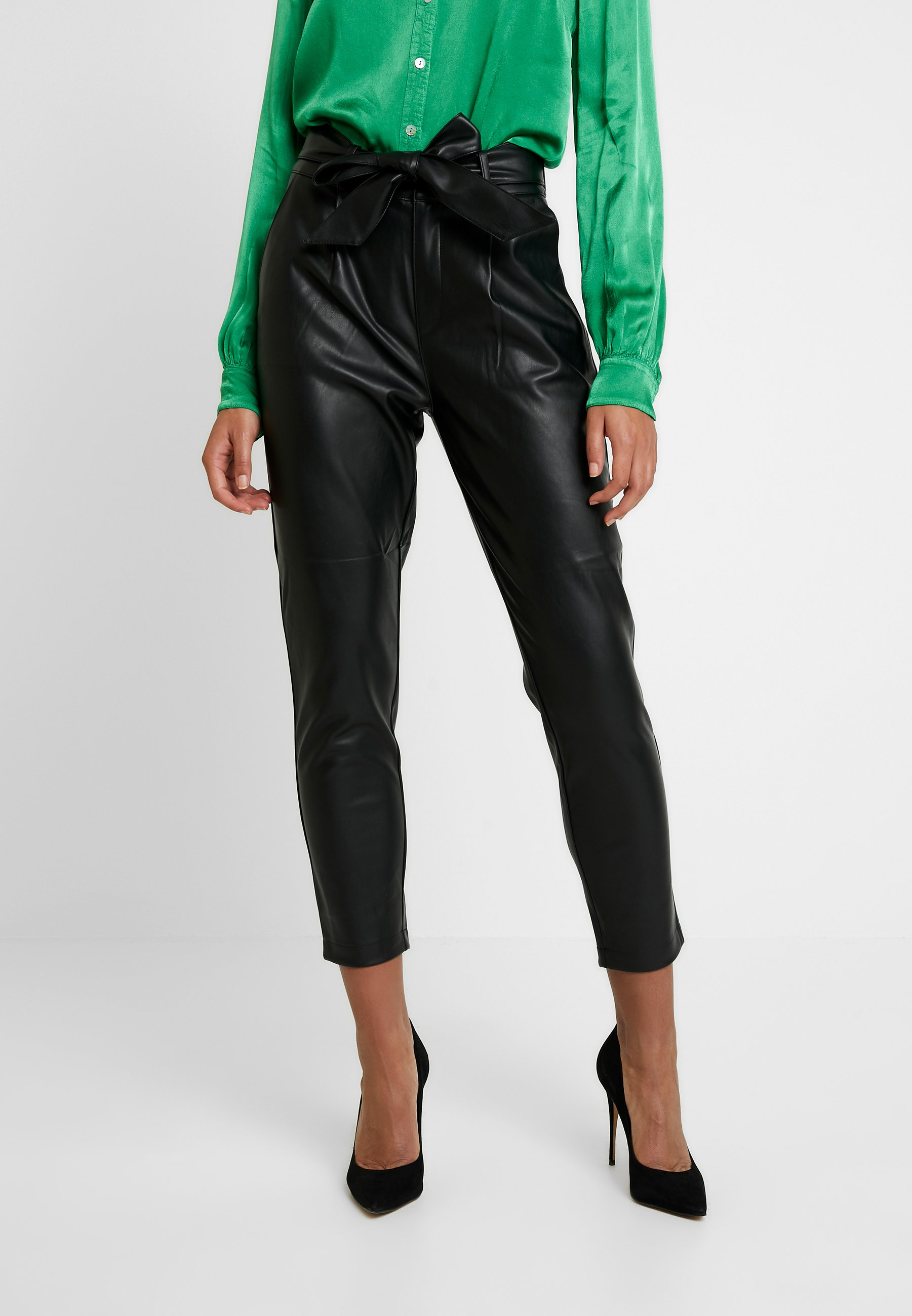 Dorothy Perkins COATED BELTED TROUSER - Pantalon classique black