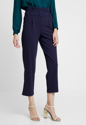 SELF BELT PAPERBAG TROUSER - Broek - navy