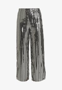 Dorothy Perkins - SEQUIN STRIPE PALAZZO - Tygbyxor - silver - 4