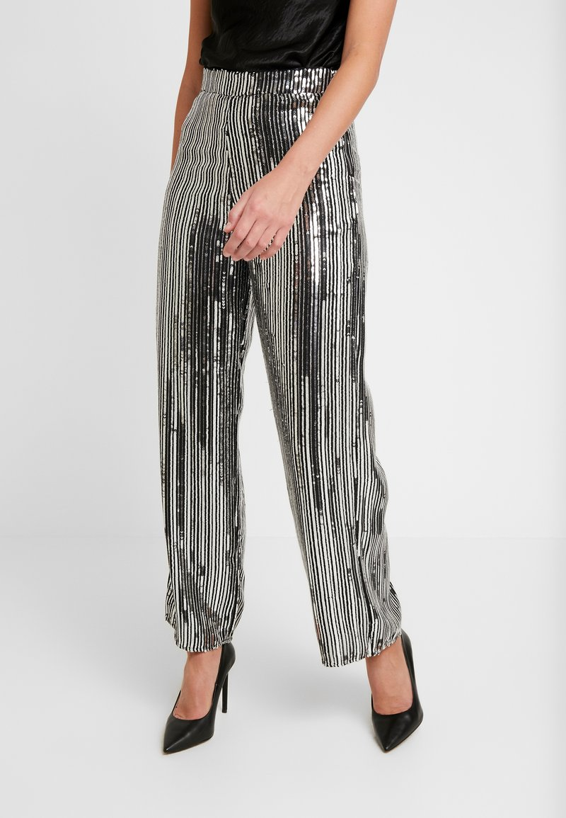 Dorothy Perkins - SEQUIN STRIPE PALAZZO - Tygbyxor - silver