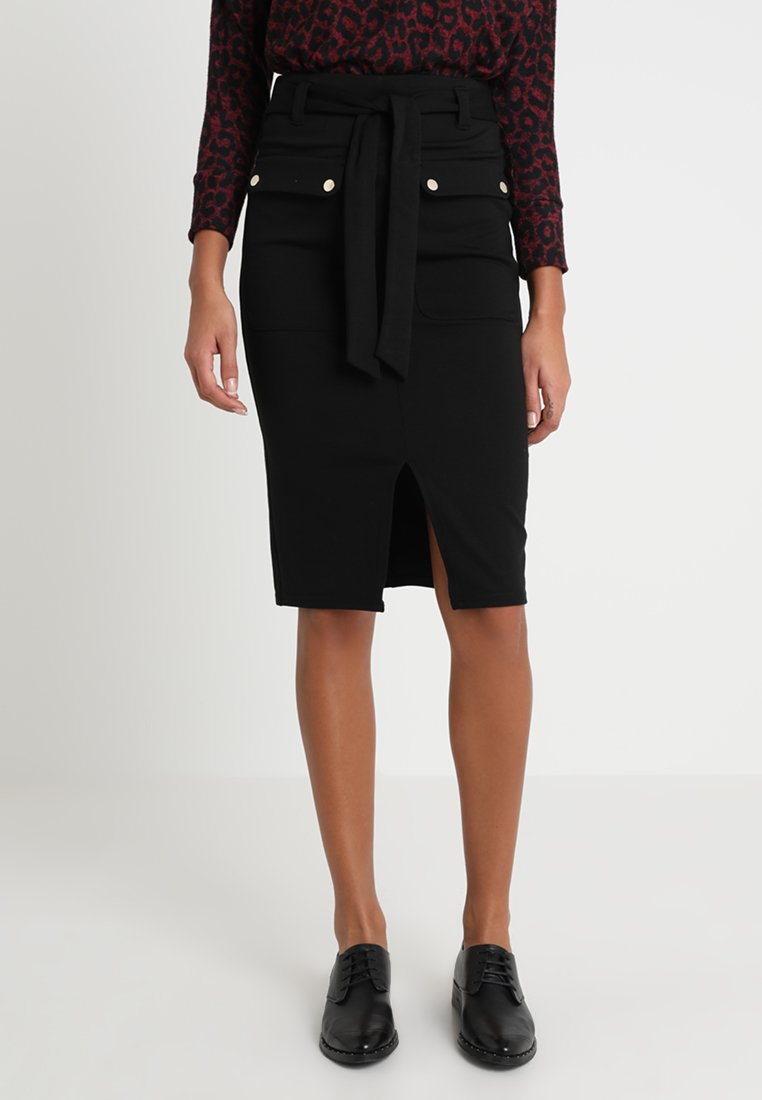 Dorothy Perkins - BELTED PENCIL SKIRT - Pencil skirt - black