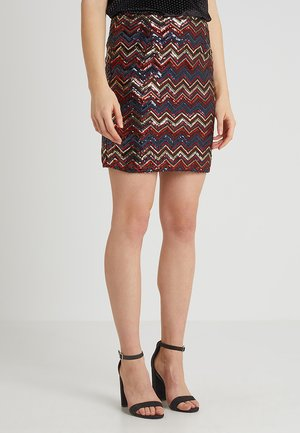 ZIG ZAG SEQUIN SKIRT - Miniskjørt - red/black/gold