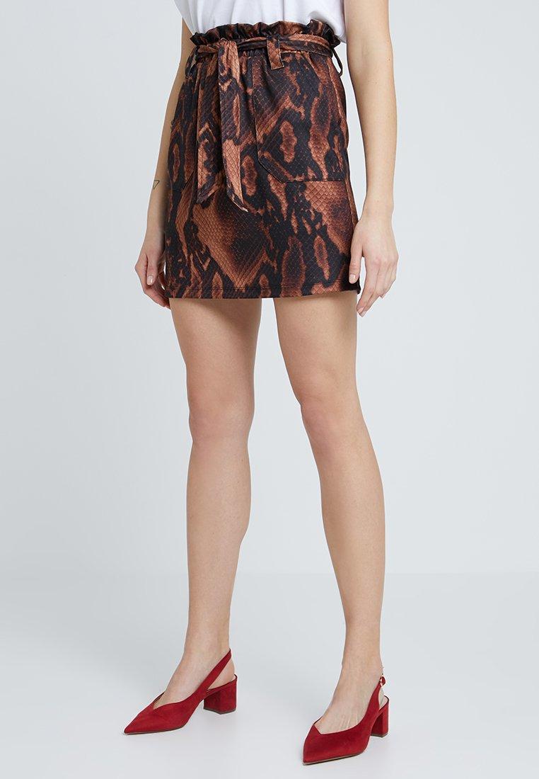 Dorothy Perkins - SNAKE TIE WAIST - Mini skirt - brown