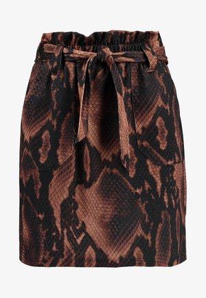 SNAKE TIE WAIST - Mini skirt - brown