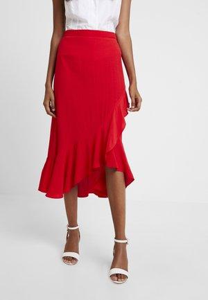 WRAP MIDI - Zavinovací sukně - red