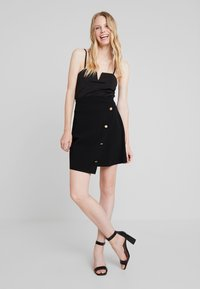 Dorothy Perkins - GOLD BUTTON WRAP SKIRT - A-line skirt - black - 1