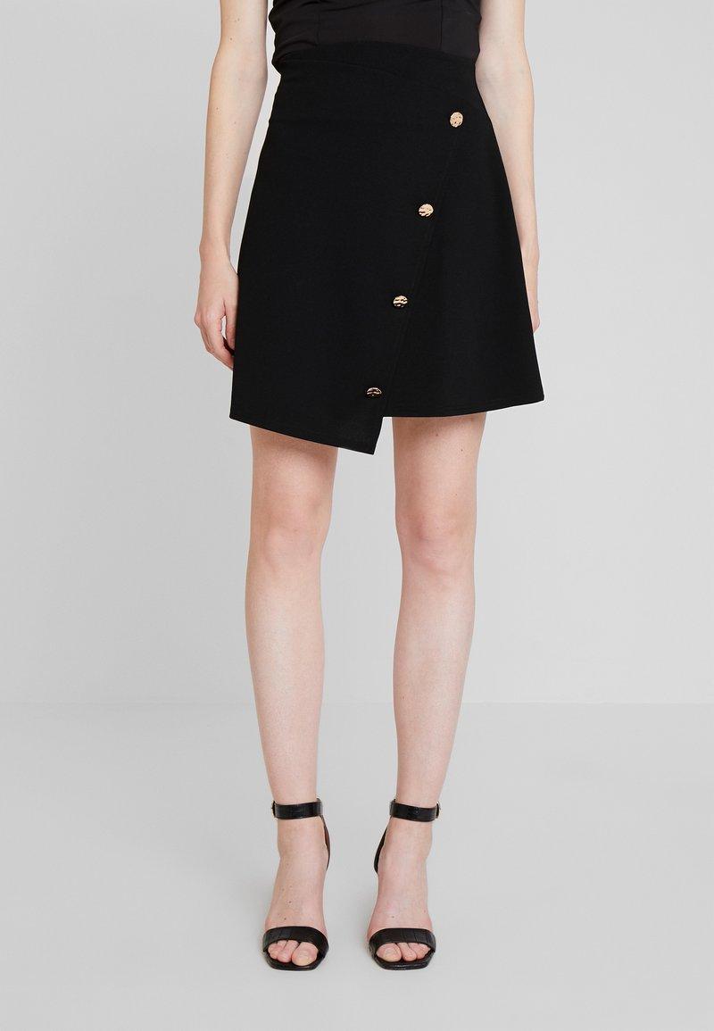 Dorothy Perkins - GOLD BUTTON WRAP SKIRT - A-line skirt - black