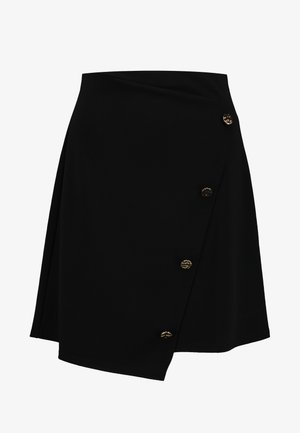 GOLD BUTTON WRAP SKIRT - Falda acampanada - black